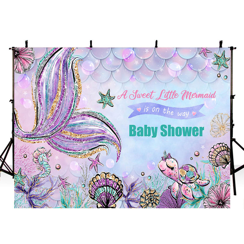 A Little Mermaid Photography Backdrop Girls Birthday Banner Background Ariel Dazzles Baby Shower Decoration for Photo Studio