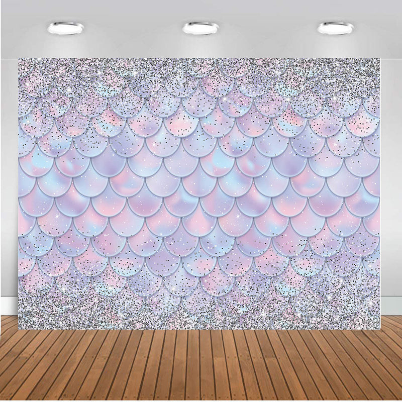 Little Mermaid Photography Backdrop Girls Birthday Banner Background Fish Scale Ariel Dazzles Baby Shower Decoration for Photo Studio