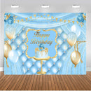 Light Blue Photography Backdrop Happy Birthday Girls Birthday Banner Background Balloons Baby Newborn Decoration for Photo Studio