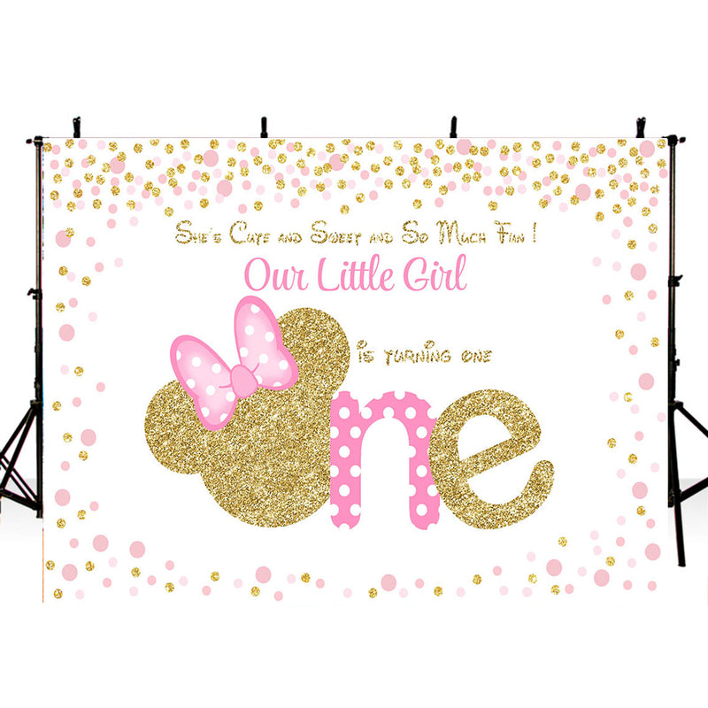 Photography Background Minnie Mouse Backdrop 1st Birthday Pink Girl Heart Shape Birthday Party Decor Backdrop Photo Studio Banner