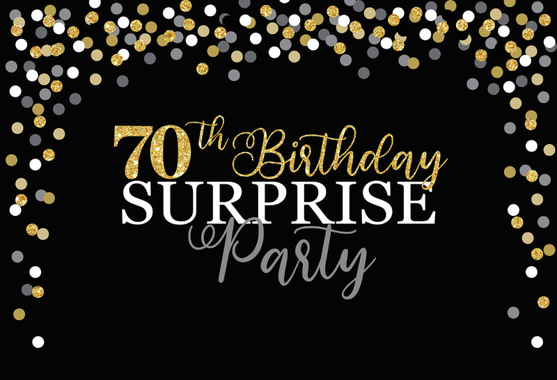 Women 70th Birthday Photography Background Black Golden Backdrop Mens Surprise Birthday Party Decor Backdrop Photo Studio Banner