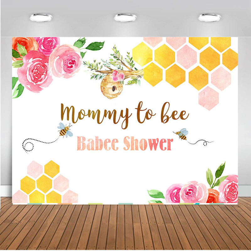 Newborn Mommy to Bee Photo Background for Baby Shower Birthday Party Decoration Babee Shower Backdrop for Photography Studio