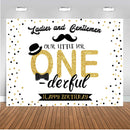 One Birthday Photo Background for Baby Shower 1st Birthday Party Decoration for Ladies and Gentleman Black Golden Backdrop for Photography Studio