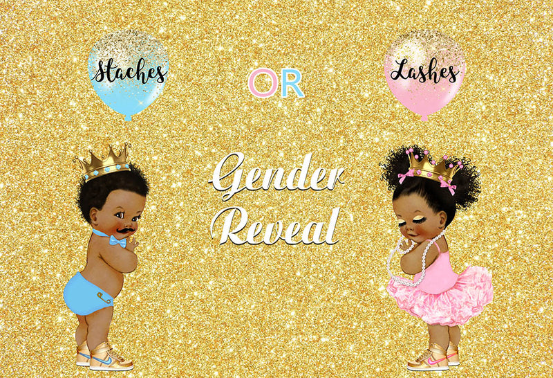 Gender Reveal Staches or Lashes Twins Birthday Photo Background for Baby Shower 1st Birthday Party Decoration for Ladies and Gentleman Golden Glitter Backdrop for Photography Studio