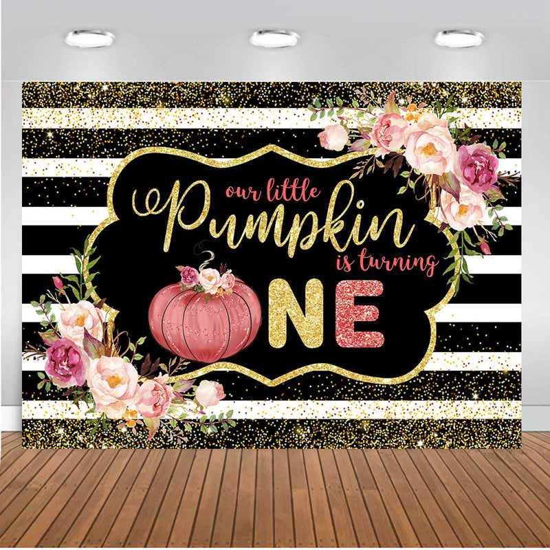 Our Little is Turning One Birthday Photo Background Black White Stripes Party Decoration Golden Glitter Backdrop for Photography Studio