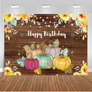 Happy Birthday Photo Background Wooden Floor Party Decoration Floral Pumpkin Baby Newborn Backdrop for Photography Studio