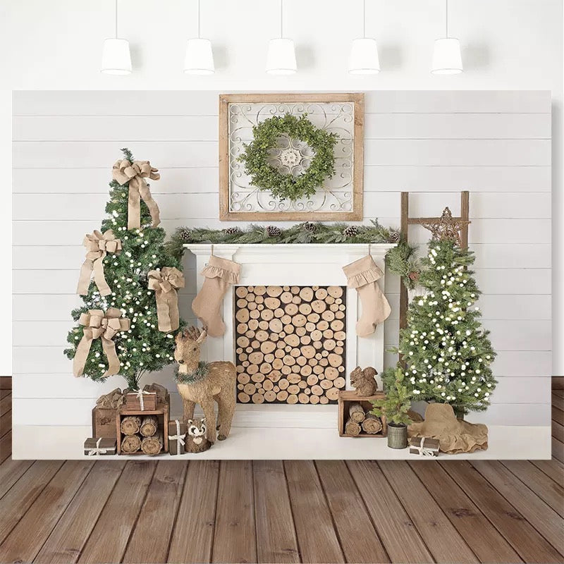 Christmas Backdrop White Fireplace Christmas Tree Decor Photocall Background Photo Studio Family Portrait Photography Backdrops