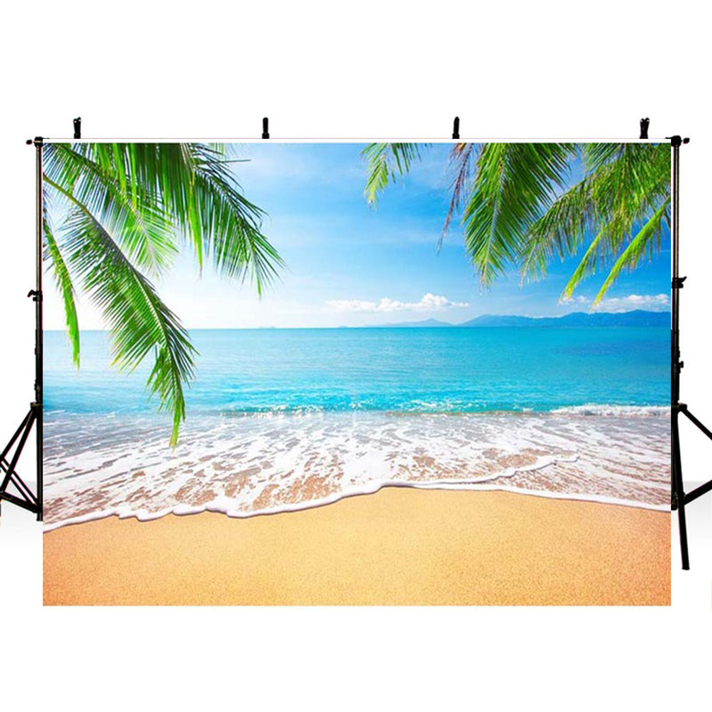 Summer Tropical Beach Backdrop Hawaii Ocean Palm Trees Photography Background for Picture Blue Sea Sky Sunshine Luau Themed Party Decorations Photo Booth Studio Props