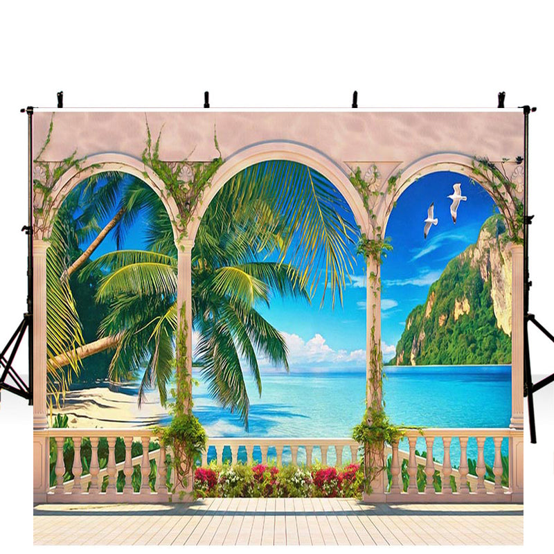beach theme photo booth backdrop vinyl ocean photography backdrops hawaiian luau photo booth props large beach scene background for photography for wedding party