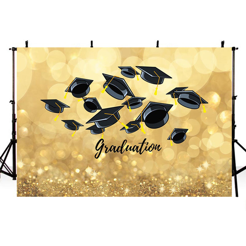 Bachelor Cap background high school photo booth props 2019 graduation banner photo backdrop golden sparkle photo backdrop shine glitter vinyl background elementary graduation photo props for teenage