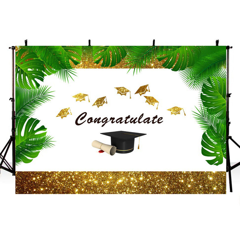 Bachelor Cap background high school photo booth props 2019 graduation banner photo backdrop golden sparkle photo backdrop tropical vinyl background elementary graduation photo props for teenage