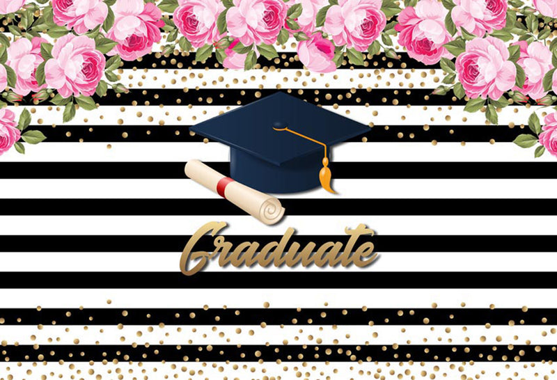 Bachelor Cap background high school photo booth props 2019 graduation banner photo backdrop black white stripes photo backdrop summer tropical vinyl background elementary graduation photo props for teenage