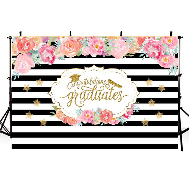 Bachelor Cap background high school photo booth props 2019 graduation banner photo backdrop black white streaks photo backdrop flowers vinyl background elementary graduation photo props for teenage