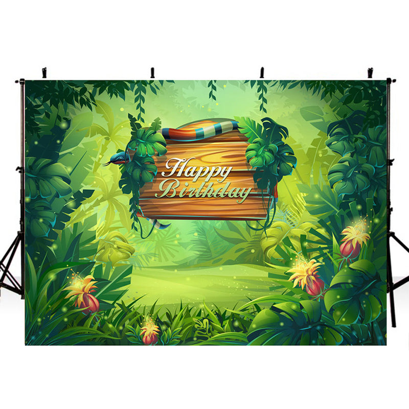 happy birthday photo backdrop animals photo booth props enchanted forest 8ft photography background tropical theme vinyl backdrops for picture summer for kids background child party
