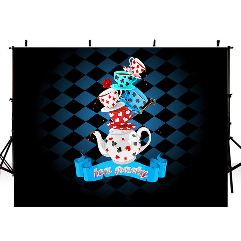 tea party photo backdrop banner cup backdrops for photography flowers photo backgrounds wedding photo booth props tea party for woman backdrop for birthday party