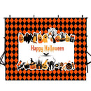 halloween party photo booth backdrop red black banner backdrop for picture Pumpkin Lantern photography background ghost photo props for kids