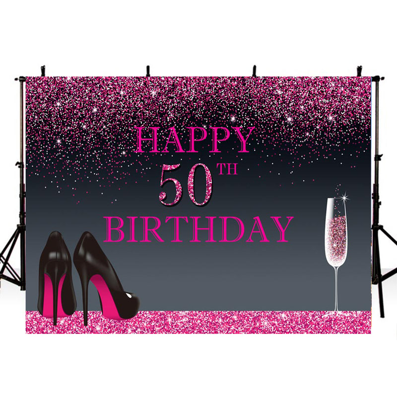 50th Birthday Party Photography Backdrops Thin Vinyl Photography For Backdrop Happy Birthday Digital Printed Photo Backgrounds For Photo Studio