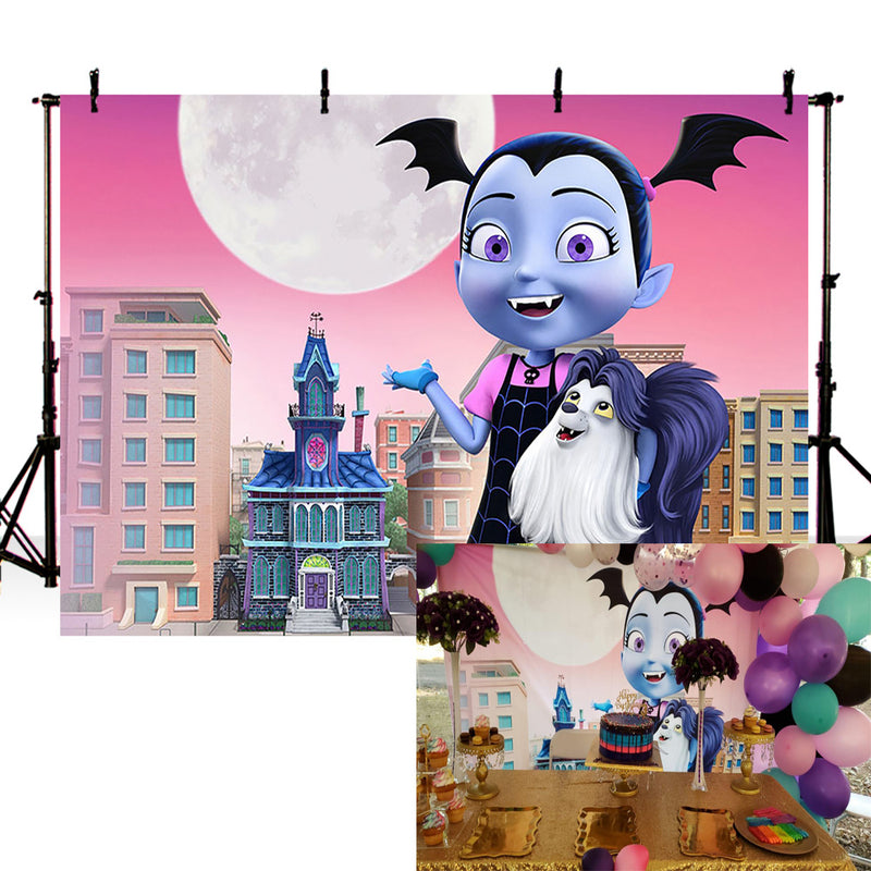 Halloween Photography Background Vampirina City Street Large Moon Backdrop for Party Vampire Scary Photography Birthday Party decor