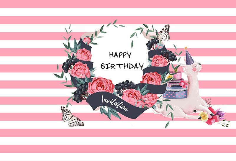Happy birthday photo backdrops customized 12x10 birthday photo booth props for girls pink strips streaks birthday photo backdrop for kids background for photo happy birthday pink flowers
