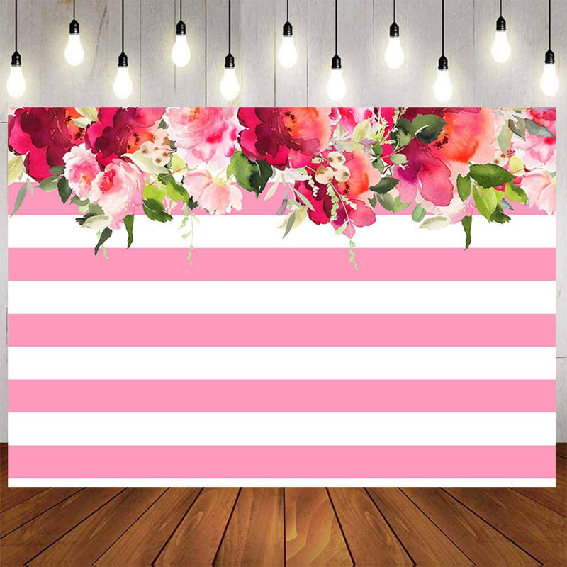 Wedding Party Photography Backdrops Pink White Stripes Photo Props Banner streak Flowers Valentine's Day Background Photo Studio