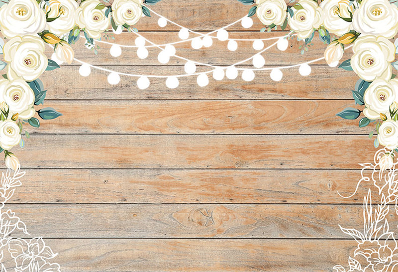 Wedding Party Photography Backdrops Wooden Photo Props Banner Lighting Flowers Valentine's Day Background Photo Studio