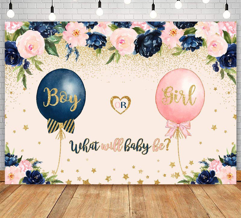 Gender Reveal Backdrop Navy Blue Blush Pink Balloon Gender Surprise Photo Backdrops Boy or Girl Photography Background