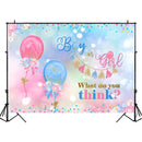 Gender Reveal Backdrop Boy or Girl Blue or White Balloons Photography Background Gender Surprise Party Banner Backdrops