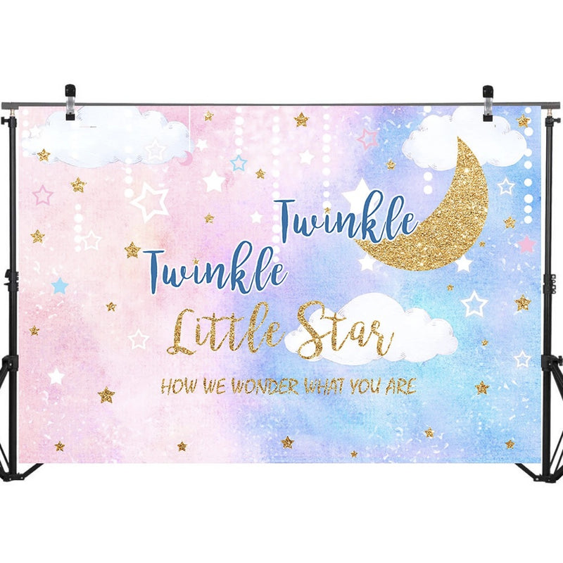 Gender Reveal Backdrop Pink Blue Twinkle Twinkle Little Star Baby Shower Photo Background Glitter Star Moon Backdrops