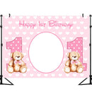 Girl Happy 1st Birthday Pink Backdrop Baby Shower Photography Background Custom Poster Dessert Table Decorations Props