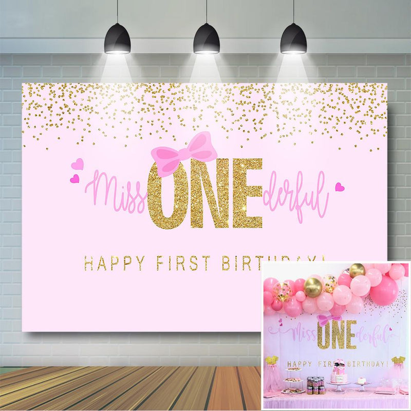 Girls 1st Birthday Backdrop Pink Bow and Gold Dot Background Girls Birthday Party Decor Little Miss Onederful Birthday Banner