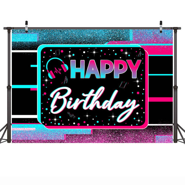 Glitter Kids Happy Birthday Backdrop Hip Hop Music Adult Birthday Cake Smash Background Decor Shiny Colorful Dots Photo Shoot