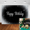 Glitter Silver Black Birthday Backdrop Silver Dots Black Photo Booth Background Party Supplies Decoration Banner for Men Women