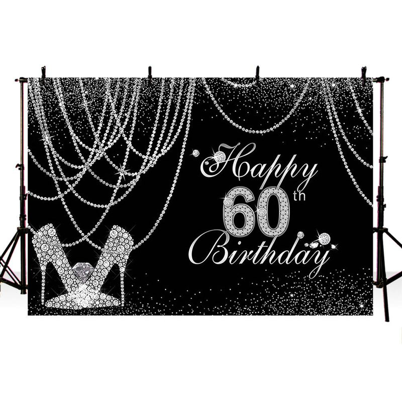 Glitter Sliver 60th birthday party decoration backdrop for photography happy birthday background for photo studio photocall prop