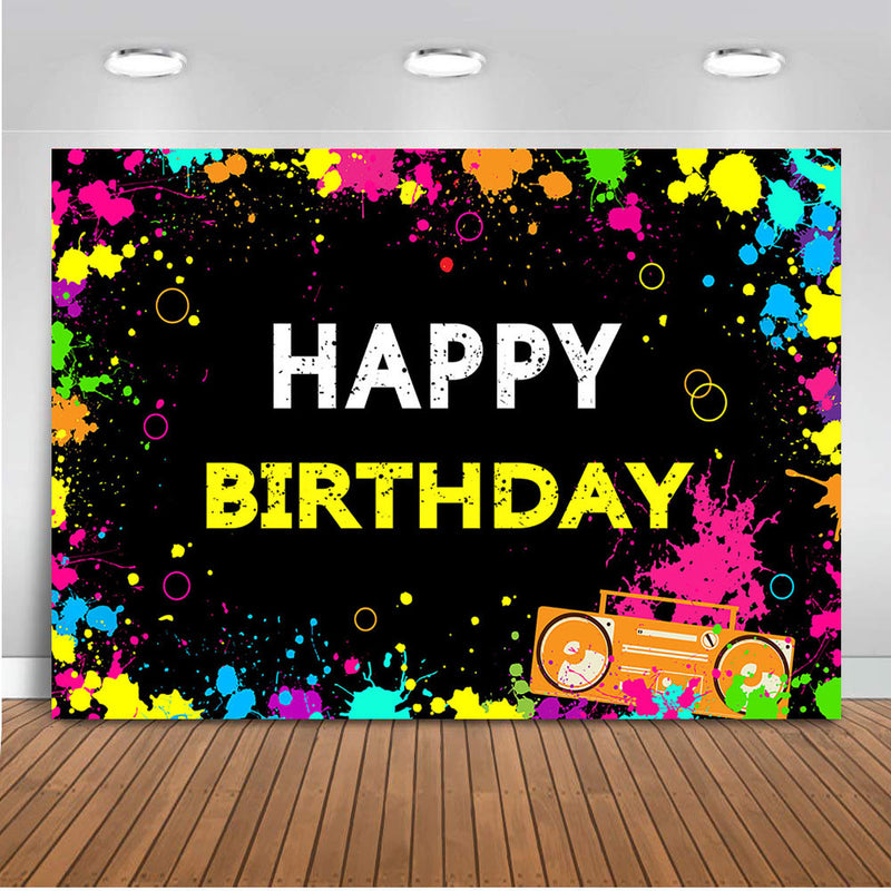 Glow Neon Birthday Backdrops for Photography Retro Disco Hip Hop Crazy Party Background Colorful Splatter Laser Ray Dark Night
