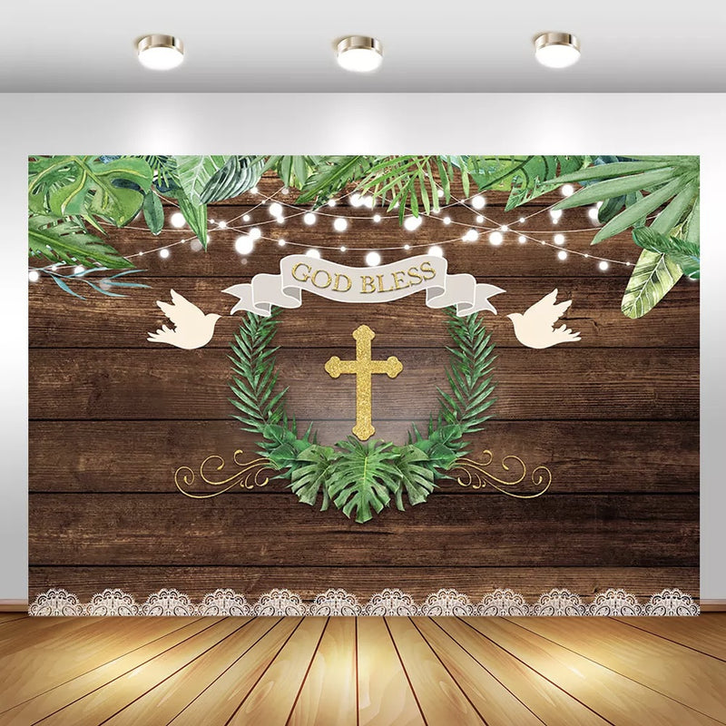 God Bless Baptism Backdrop Rustic Wood First Holy Communion Photography Background Baby Shower Party Banner Backdrops
