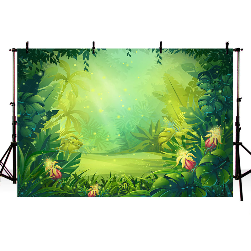 Green grass backdrop for photography forest jungle theme party decoration supplies background for photo fairy tale firefly
