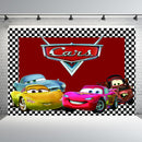 Racing Car Competition Themed Boy Birthday Backdrop Decor Red Stripes Flags Children Happy Birthday Photo Background