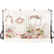 Backdrop Balcony Bright Flowers Wreath Basket Chairs Wood Wall Background Photo Studio Photobooth Photography Backdrops