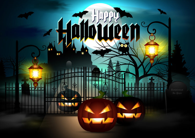 Halloween Party Photography Background Birthday Party Big Moon Pumpkin Bats Owl Backdrops Horrifying Night Decoration Photocall