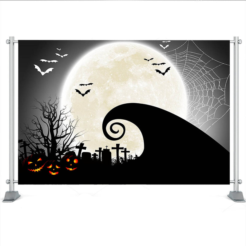 Halloween Party Photography Background Retro Pumpkins Light Moon Children Forest Old Trees Horror Backdrops for Photo Studio