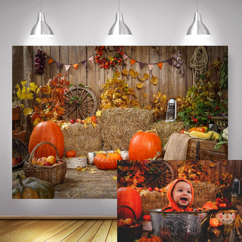 Fall Thanksgiving Photography Backdrop Halloween Rustic Wooden Floor Barn Harvest Background Autumn Pumpkins Maple Leaves Baby Shower Party Decoration Photo Studio