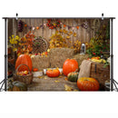 Fall Thanksgiving Photography Backdrop Halloween 7x5FT Rustic Wooden Floor Barn Harvest Background Autumn Pumpkins Maple Leaves Baby Shower Party Decoration Photo Studio
