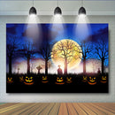 Halloween Theme Pumpkins Light Photography Background Ghost Horror Yellow Moon Backdrops Old Trees Kids Cemetery Backdrops