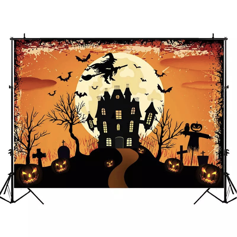 Halloween Party Backdrop Black Bat Castle Background Photography Scary Pumpkin Lantern Photocall Decor Background Photo Studio
