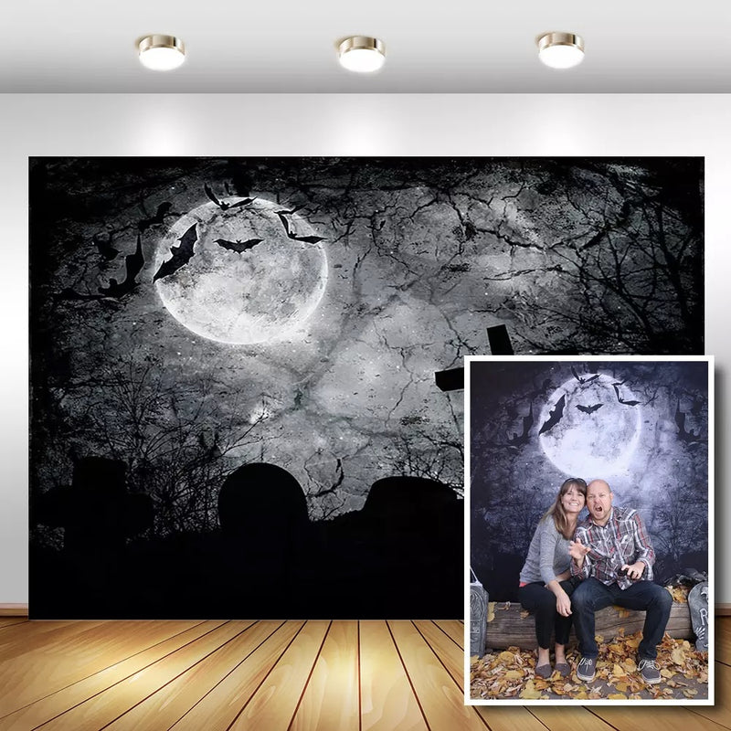 Halloween Party Photography Background for Black Forest Moon Photo Props Studio Booth Background Bat Cross Background