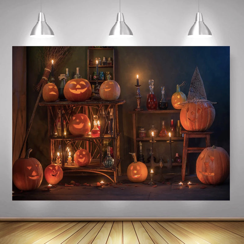 Halloween Pumpkin Lantern Photography Backdrops Wizard House Halloween Children Portrait Background Candle Potion Photocall