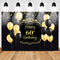 Happy Women 60th Birthday Backdrop Black Yellow Balloon Background Gold Light Spot Decoration Birthday Party Background