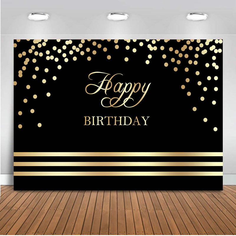 Happy Birthday Backdrop Black and Gold Birthday Party Banner Decoration Background for Adult Children Golden Dots