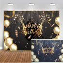Happy Birthday Balloons Champagne Graduation Party Backdrop for Photography Gold Decoration Supplies for Photographic Photo Prop