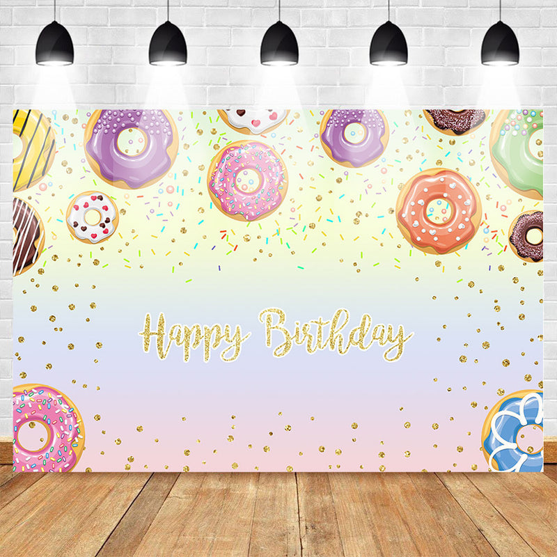 Happy Birthday Theme Party Photo Background Sweet Donut Backdrop for Children Dessert Shop Banner Decoration Background